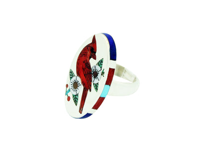 Load image into Gallery viewer, Nancy, Ruddell Laconsello, Ring, Cardinal, Coral, Turquoise, Lapis, Zuni, 7.5