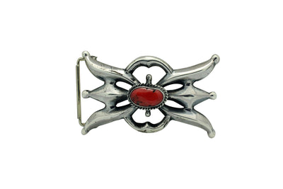 Load image into Gallery viewer, Carole, Wilson Begay, Sandcast Buckle, Mediterranean Coral, Navajo Made, 3.5