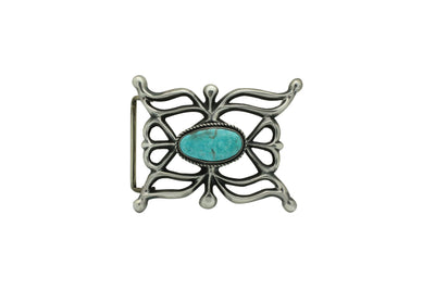 Load image into Gallery viewer, Carole, Wilson Begay, Sandcast Buckle, Easter Blue Turquoise, Navajo Made, 2.5