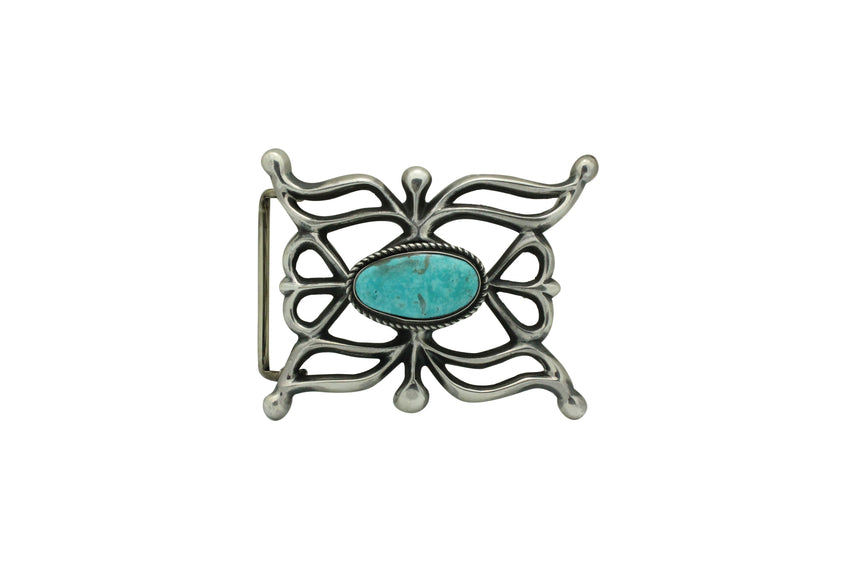 Carole, Wilson Begay, Sandcast Buckle, Easter Blue Turquoise, Navajo Made, 2.5