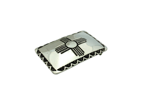 Elvira Bill, Buckle, Sterling Silver, Zia Design, Navajo Handmade, 3.25