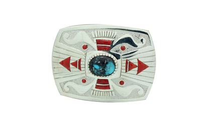 Load image into Gallery viewer, Michael Perry, Buckle, Bisbee Turquoise, Mediterranean Coral, Navajo Made, 2.25