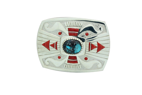 Michael Perry, Buckle, Bisbee Turquoise, Mediterranean Coral, Navajo Made, 2.25