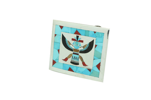 Harlan Coonsis, Buckle, Knifewing, Turquoise, Coral, Shell, Zuni Handmade, 2.25