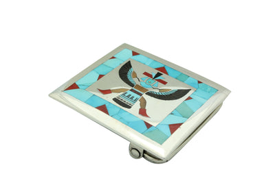 Load image into Gallery viewer, Harlan Coonsis, Buckle, Knifewing, Turquoise, Coral, Shell, Zuni Handmade, 2.25