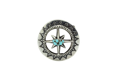 Load image into Gallery viewer, Carole, Wilson Begay, Sandcast Buckle, Number Eight Turquoise, Navajo Made, 2.75