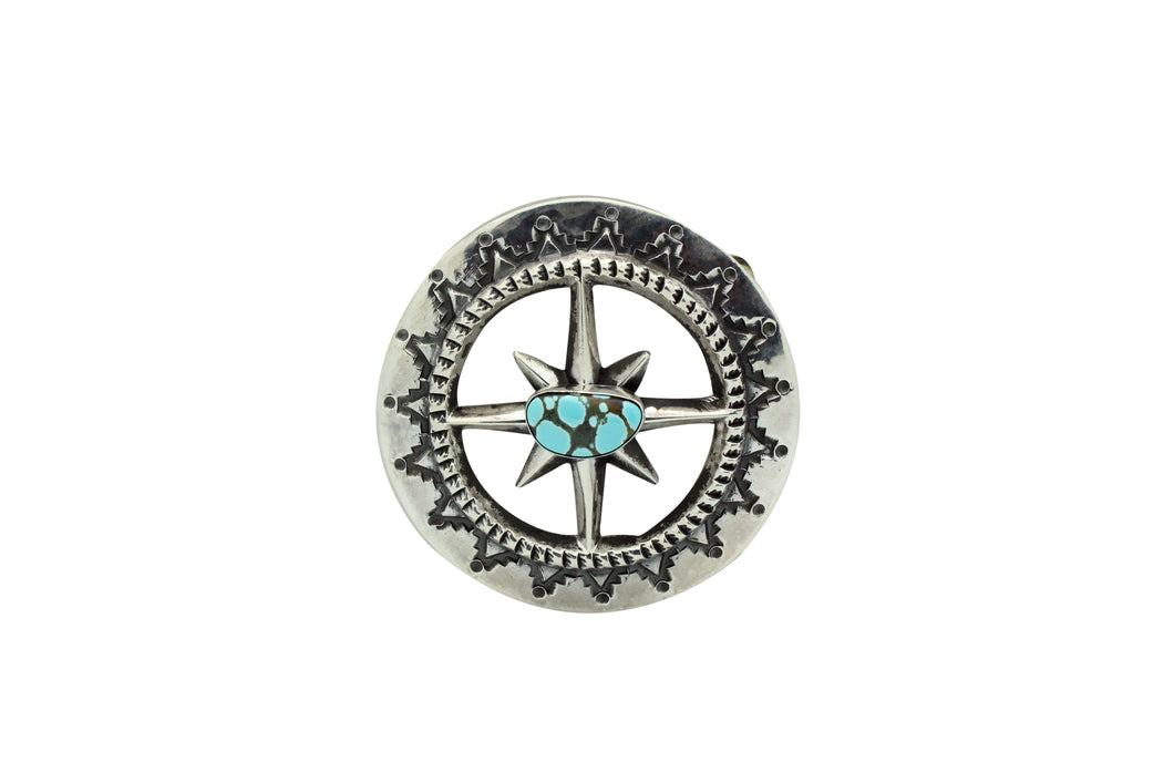 Carole, Wilson Begay, Sandcast Buckle, Number Eight Turquoise, Navajo Made, 2.75