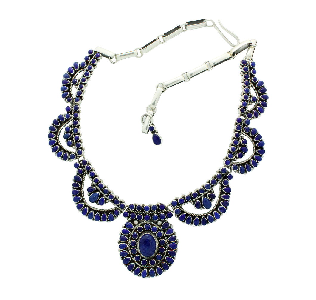 Dave Lister, Necklace, Lapis Lazuli, Cluster, Earrings, Navajo Handmade, 23