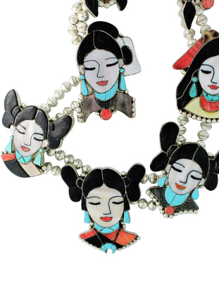 Load image into Gallery viewer, Shirley Benn, Necklace, Hopi, Plains Navajo, Zuni Maidens, Handmade, 35
