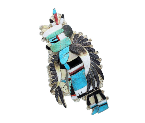 Eldred Martinez, Bolo, Eagle Dancer, Multi Stone Inlay, Zuni Handmade,