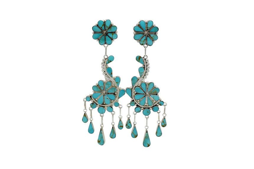 Vivianita Booqua, Earrings, Pierced, Dangles, Kingman Turquoise, Zuni Made, 4.25