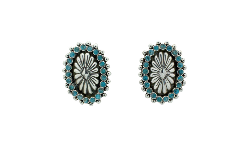 Vincent Shirley, Earring, Cluster Concho Design, Kingman Turquoise, Navajo, 1.6