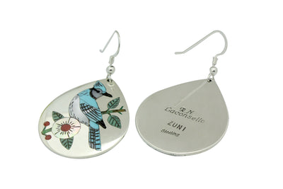 Load image into Gallery viewer, Ruddell, Nancy Laconsello, Earrings, Inlay, Blue Jay, Zuni Handmade, 2