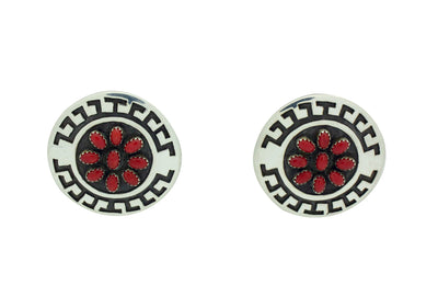 Load image into Gallery viewer, Roscoe Scott, Pierced Earrings, Mediterranean Coral, Navajo Handmade, 1.6