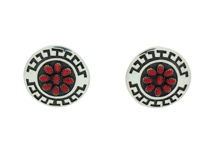 Roscoe Scott, Pierced Earrings, Mediterranean Coral, Navajo Handmade, 1.6
