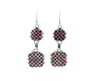 Load image into Gallery viewer, Vincent Shirley, Earring, Dangles, Clusters, Mediterranean Coral, Navajo, 2.75