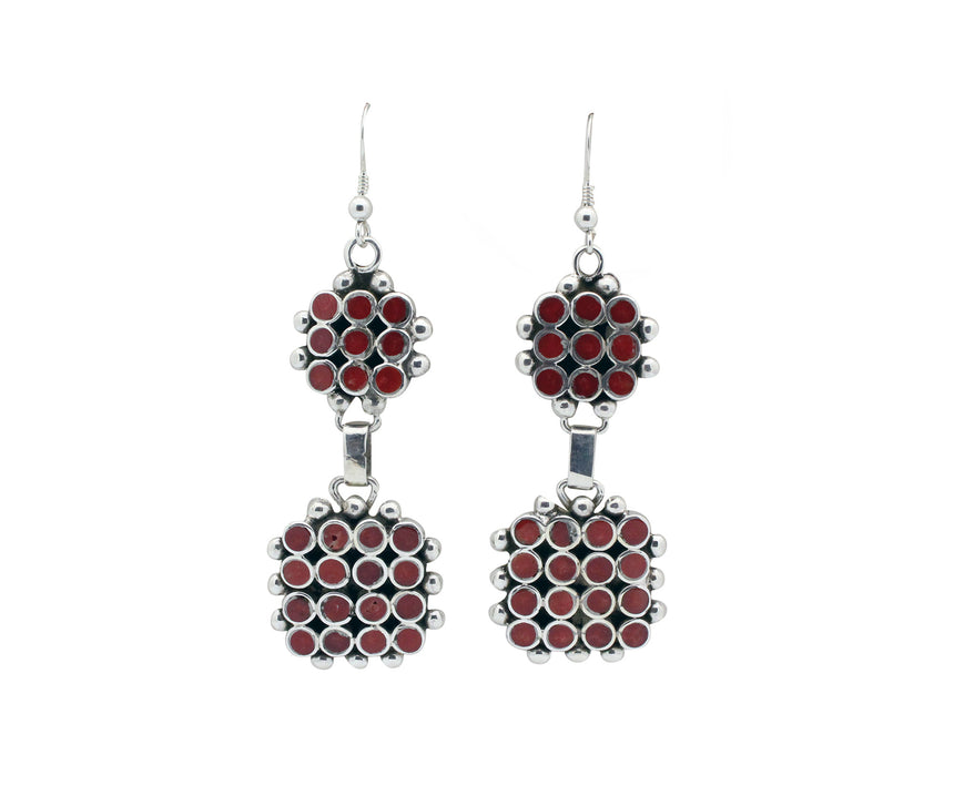 Vincent Shirley, Earring, Dangles, Clusters, Mediterranean Coral, Navajo, 2.75