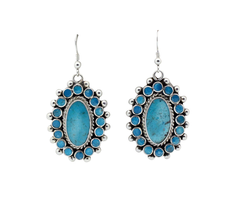 Vincent Shirley, Earring, Clusters, Kingman Turquoise, Navajo Handmade, 2.1