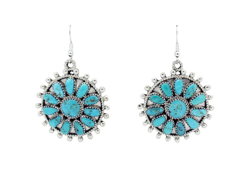 Eunise Wilson, Earrings, Dangles, Cluster, Turquoise, Silver, Navajo Made, 2.25