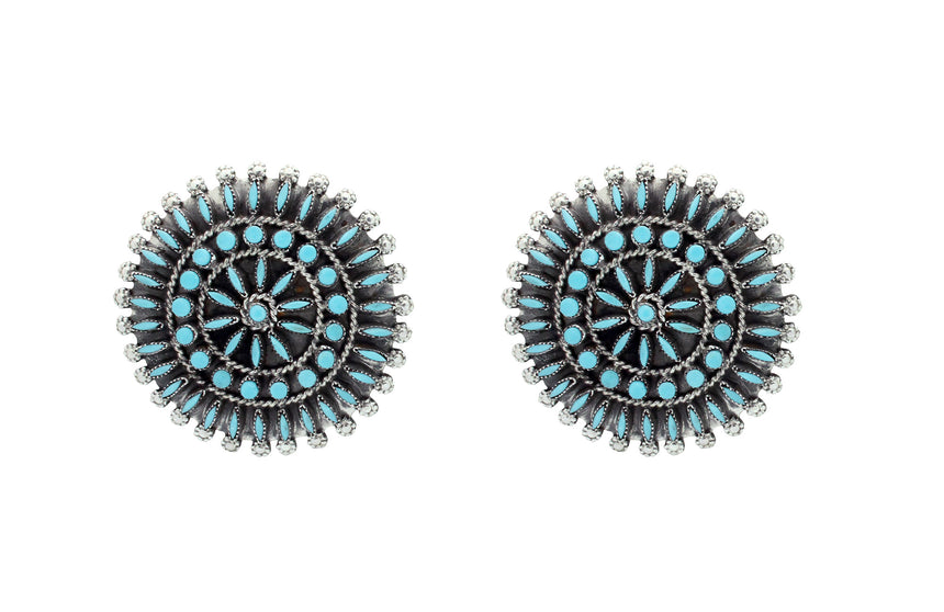 Merlinda, Delbert Chavez, Earrings, Sleeping Beauty Turquoise, Zuni Made, 1.75