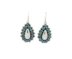 Vincent Shirley, Earring, Tear Drop Design, Kingman Turquoise, Navajo Made, 2