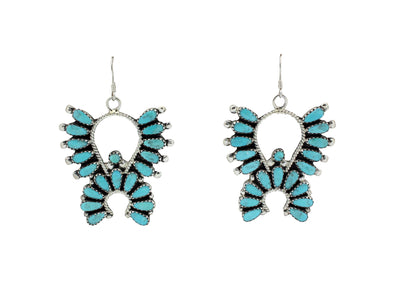 Load image into Gallery viewer, Zeita Begay, Earrings, Kingman Turquoise, Cluster Design, Navajo Handmade, 2.25