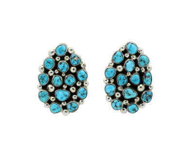 Load image into Gallery viewer, Tiffany, Melvin Jones, Cluster Earrings, Kingman Turquoise, Navajo Made, 1.5