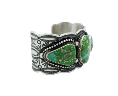 Load image into Gallery viewer, Herman Smith, Bracelet, Sonoran Gold Turquoise, Stamping, Navajo Handmade, 6.5