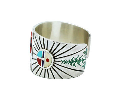 Load image into Gallery viewer, Nancy, Ruddell Laconsello, Bracelet, Cardinal, Inlay, Zuni Handmade, 6 3/8""