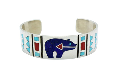 Load image into Gallery viewer, Ruddell Laconsello, Bracelet, Lapis, Coral, Turquoise, Bear, Zuni Made, 6.25
