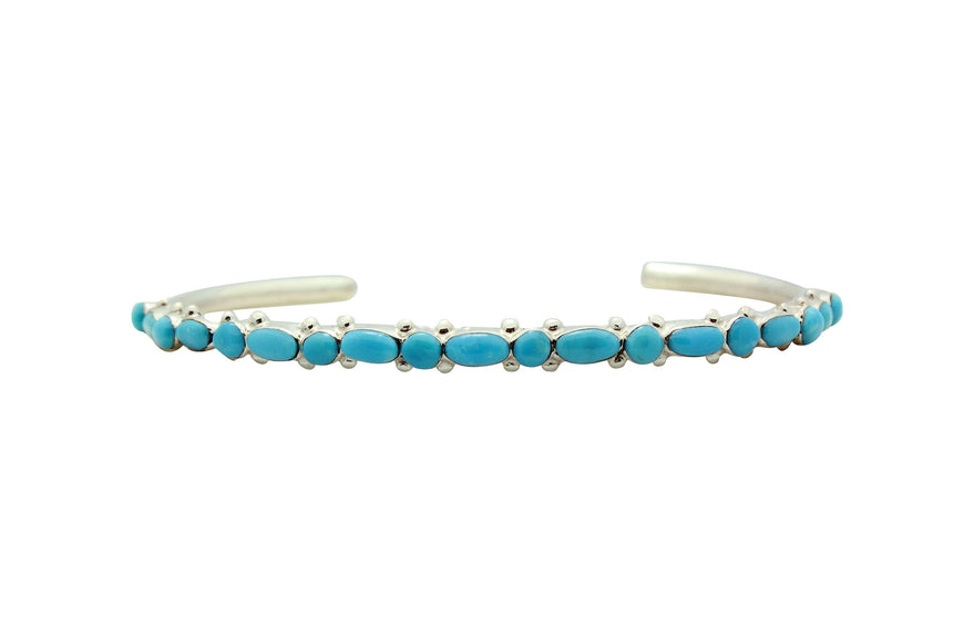Elvira Kiyite, Bracelet, Sleeping Beauty Turquoise, Narrow, Zuni Handmade, 6
