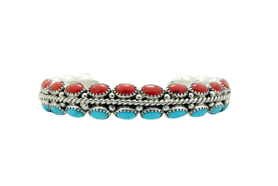 Load image into Gallery viewer, Ruth Bia Yazzie, Bracelet, Coral, Turquoise, Triangle Wire, Navajo Made, 6.5