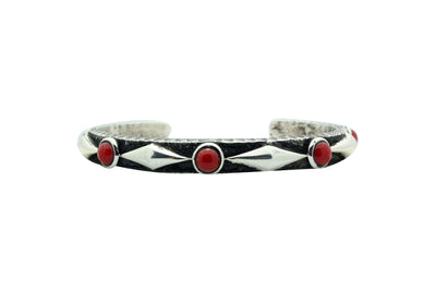 Load image into Gallery viewer, Ernest Rangel, Bracelet, Tufa, Mediterranean Coral, Silver, Navajo Made, 6.5
