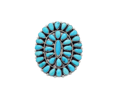 Load image into Gallery viewer, Erick Wilson, Ring, Traditional Cluster, Sleeping Beauty Turquoise, Navajo, 10