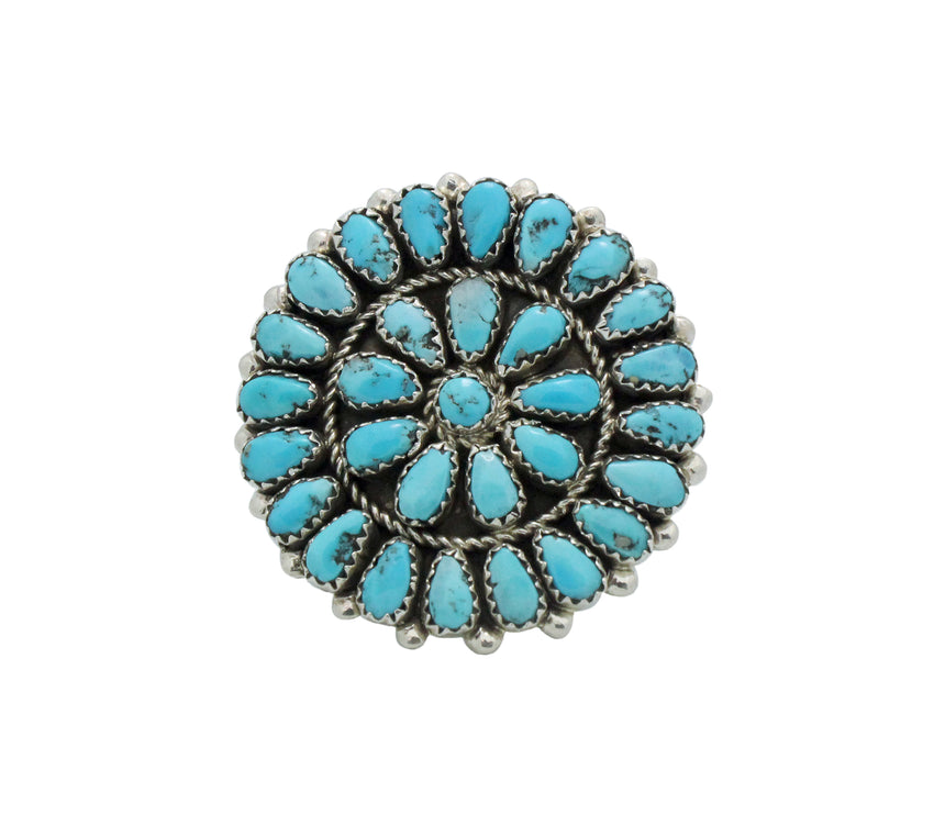 Eunice Wilson, Ring, Round Cluster, Sleeping Beauty Turquoise, Navajo, 10.5