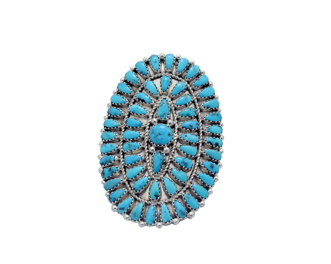 Stephanie Wilson, Ring, Sleeping Beauty Turquoise, Cluster, Navajo Made, 8