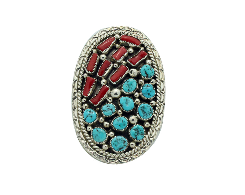 Darlene Begay, Ring, Turquoise, Coral, Cluster, Large, Navajo Handmade, 7.5