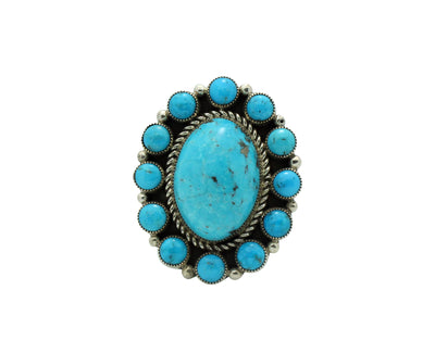 Load image into Gallery viewer, Tiffany, Melvin Jones, Ring, Kingman Turquoise, Navajo Handmade, 8