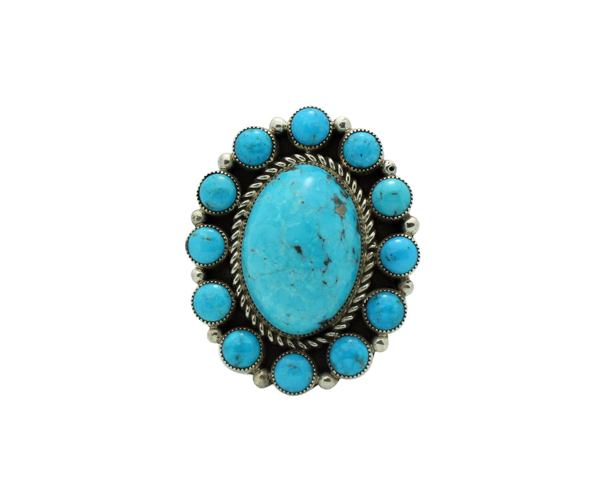 Tiffany, Melvin Jones, Ring, Kingman Turquoise, Navajo Handmade, 7 1/2