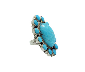 Tiffany, Melvin Jones, Ring, Kingman Turquoise, Navajo Handmade, 8