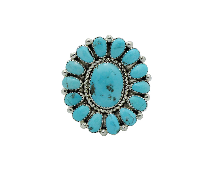 Jazz Wilson, Ring, Cluster, Sleeping Beauty Turquoise, Navajo Handmade, 9