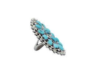Erick Wilson, Ring, Sleeping Beauty Turquoise, Silver Dot, Cluster, Navajo Made, 7
