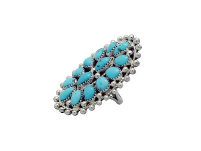 Load image into Gallery viewer, Erick Wilson, Ring, Sleeping Beauty Turquoise, Silver Dot, Cluster, Navajo Made, 7