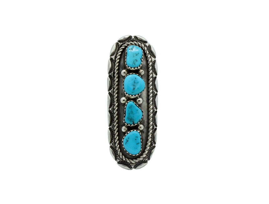 Julia Etsitty, Ring, Sleeping Beauty Turquoise, Silver, Navajo Handmade, 6