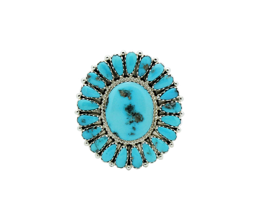 Justin Wilson, Ring, Small Cluster, Kingman Turquoise, Navajo Handmade, 8 1/2