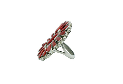 Load image into Gallery viewer, Kyle Wilson, Ring, Red Mediterranean Coral Cluster, Navajo Handmade, 8.5