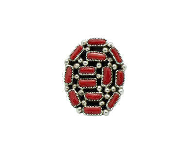Load image into Gallery viewer, Tiffany, Melvin Jones, Ring, Mediterranean Coral, Cluster, Navajo Made, 8 1/2