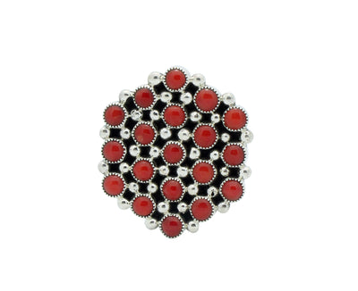 Load image into Gallery viewer, Tiffany, Melvin Jones, Ring, Round Mediterranean Coral, Navajo Made, 8.5