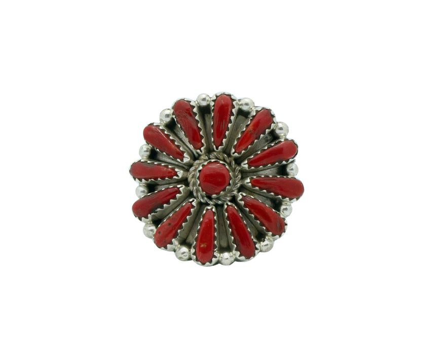 Kyle Wilson, Ring, Small Cluster, Mediterranean Coral, Silver, Navajo Made, 8 1/2
