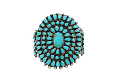 Load image into Gallery viewer, Navajo Bracelet, Cluster, Blue Gem Turquoise, 102 Stones, Circa 1960s, 7 7/16""